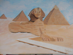 Toile authentifié en acrylique (Le Sphinx et ses Pyramides)