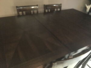 Solid wood pub table and 6 chairs