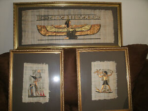 3 EGYPTIAN PAPYRUS GOLD FRAMED PAINTINGS