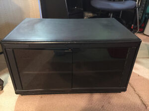 Black TV Stand with Glass Doors & 2 Component Shelves
