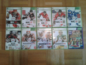 GRANDE COLLECTION DE FOOTBALL ET DE HOCKEY JEUX XBOX360