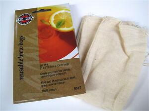 Norpro 5517 Reusable Tea Soup Gravy Brew Bags set of 4