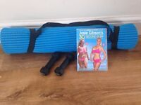 Davina air flow exercise mat, two 0.5kg hand weights & Josie Gibson fitness dvd