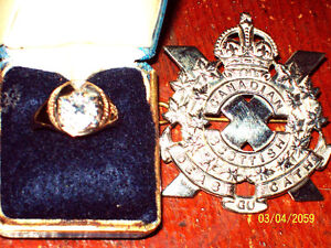 RARE CANADIAN SCOTTISH OFFICERS CAP BADGE RING
