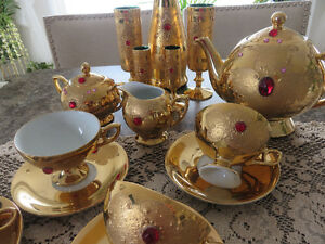 Vintage Bohemian Gold tone Set Cups & Saucers,Creamer,Sugar Bowl