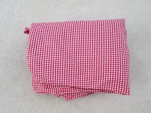 """Pottery Barn Kids"" Red/White Gingham Check Twin Flat Sheet"