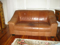 MID CENTURY LEATHER - TAN - 2 SEATER COUCH