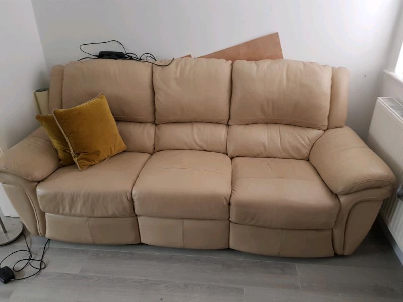 Cream Leather Recliner Sofa | in St Helens, Merseyside | Gumtree
