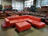 Thick/Heavy Red Leather Designer Corner Sofa&Large Footstool.WE DELIVER