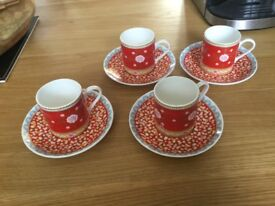 Espresso cups and saucers set of four