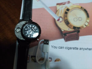 WATCH WITH FLAMELESS CIGARETTE LIGHTER