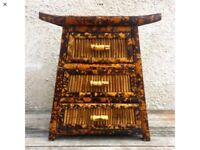 Retro Vintage Bamboo Style Occasional Cupboard with a Wicker Weaved Top