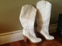 White Leather Cowboy Boots Women's Size 10