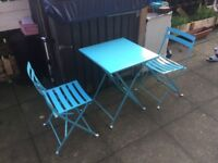 Charles Bentley 2 Seater Folding Dining Set Patio Furniture Blue