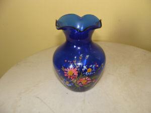 vase à fleurs en verre de couleur bleue@@@#