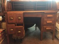 Antique roll top desk and swivel captains chair