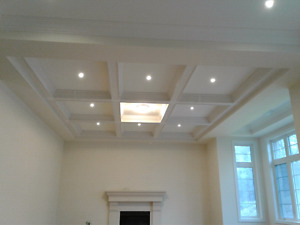 Coffered ceilin  , crown  moulding