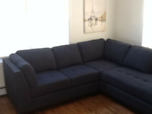 2 Piece Sectional for Sale-Navy Blue