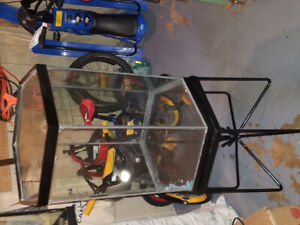 Hexagon shaped tank for reptile terrium w/ matching hex stand