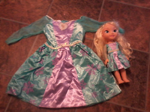 Frozen Elsa Doll with Matching 3T-4T Dress, Dress never used.