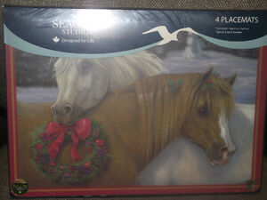 NEW--Horse Christmas Placemats-Set of 4