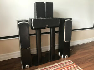 Precision acoustic 5 speaker set with stands – free speaker wire