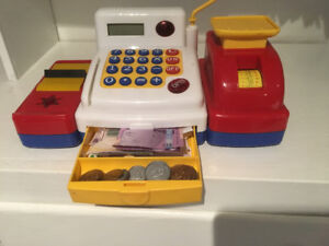 Toys - cash register, set of drums, magnetic letters and doll