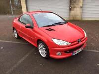 55 reg Peugeot 206 CC 1.6HDi 110 Coupe Cabriolet Sport Diesel Bright Red