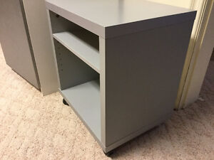 Gray cabinet on wheels - great for printer