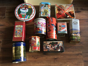 Collectible decorator tins, $1 to $3 obo