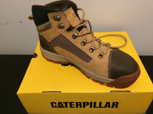 CAT steel-toe work boots.
