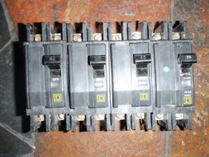 Disjoncteurs SquareD circuit breakers Electrical panal