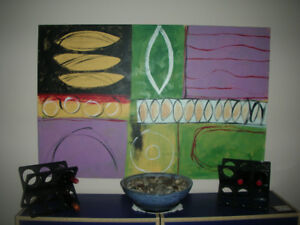 """LARGE MODERN ABSTRACT PAINTING ON CANVAS 60"""" X 40""""-PRICE DROP"""