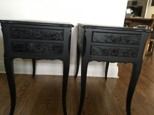 SOLID WOOD TWO FRENCH STYLE END OR BEDSIDE TABLES