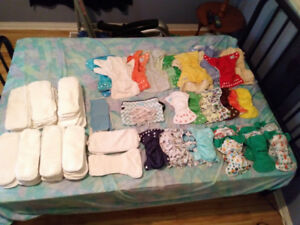 Cloth diaper lot, newborn and one size fits all