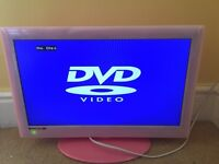 "18"" Pink TV/DVD Combi working condition with remote control TV DVD Player"