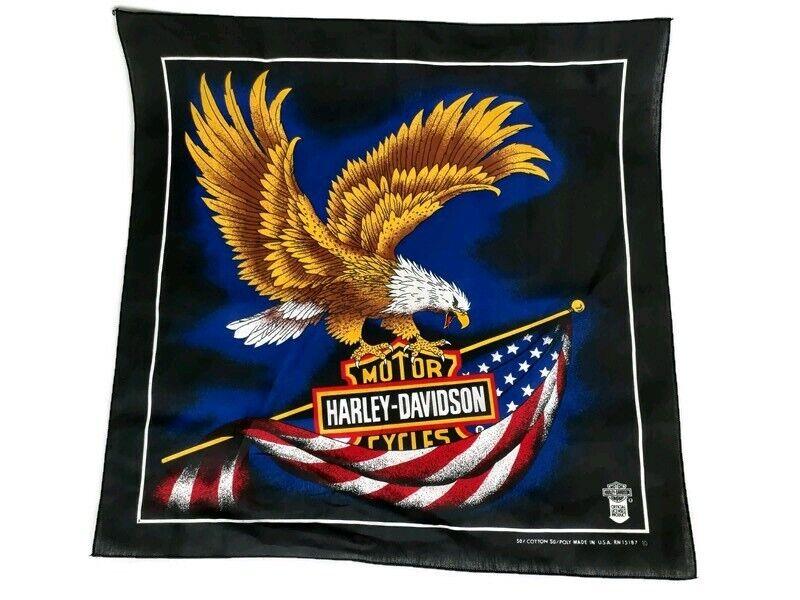 Vintage Harley Davidson Eagle Flag Bandana Scarf Made In USA
