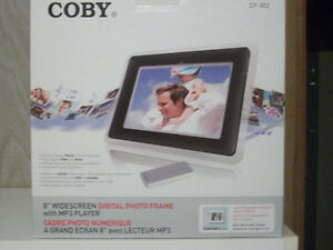 "Coby 8"" Widescreen Digital Photo Frame with MP3 Player"