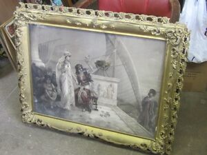 CIRCA 1880s SHABBY CHIC PICTURE & FRAME $50.00 HOME DECOR