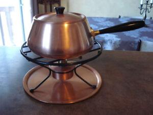 """Caquelon, ensemble à fondue en cuivre """" CULINOX """" ( Suisse )"""