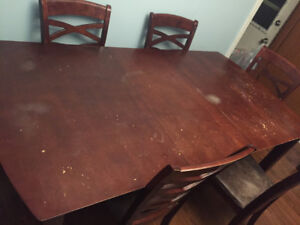 5 chairs large used condition table  $50 obo