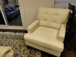 Cream Leather Couch and Chair For Sale