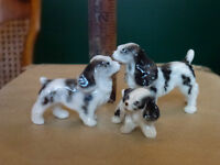Vintage set of 3 miniature spanials