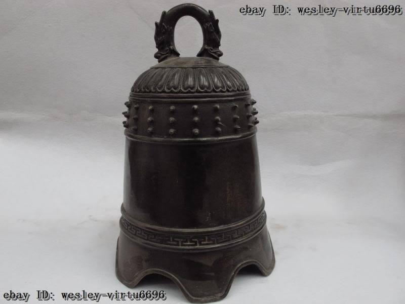 Tibet buddhism classical Folk Brass copper handwork Carved fengshui Dragon bell