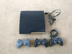 PS3,  all cables,  3 controllers + games