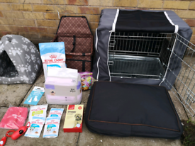 Brand new small puppy bundle Inc dog crate, travel seat, accessories