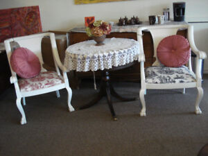 Distressed Vintage Chairs and Drum, leather top table