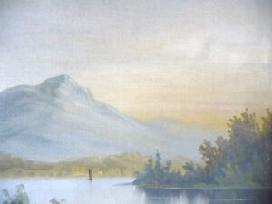 "Antique, Large Original Oil, ""Lake George"" by C. G. White Stratford Kitchener Area image 9"