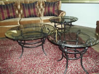 3 piece wrought iron  glass coffee table and endtables