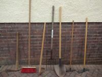 Selection of outdoor tools for garden etc.